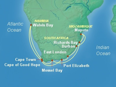 Africa Cruise Itinerary Map