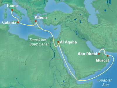Asia, Africa, Middle East Cruise Itinerary Map