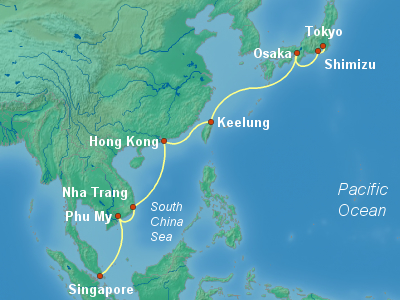 Asia Cruise Itinerary Map