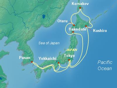 Japan Cruise Itinerary Map