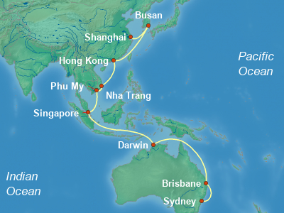 China Cruise Itinerary Map