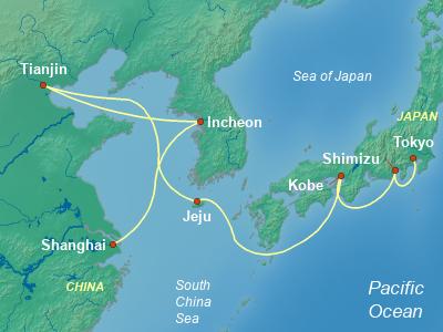 China Cruise Itinerary Map