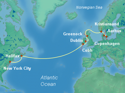 Transatlantic Cruise Itinerary Map