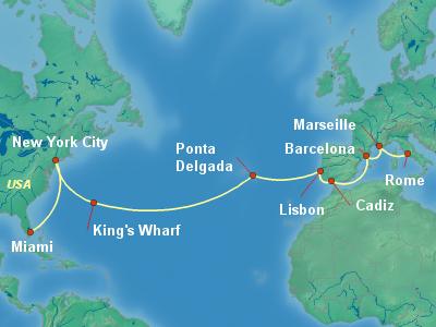 Transatlantic Cruise Itinerary Map