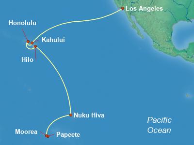 Hawaii, Tahiti, Pacific Islands Cruise Itinerary Map