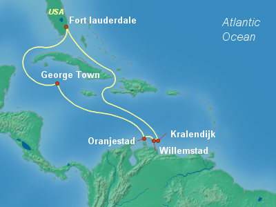 Caribbean, Bahamas Cruise Itinerary Map