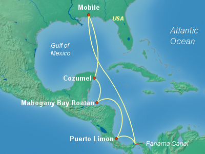 Caribbean, Bahamas Cruise Itinerary Map