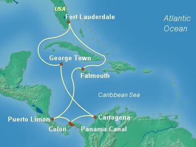Panama Canal Cruise Itinerary Map