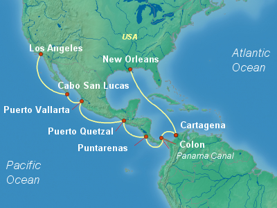 Panama Canal Cruise Itinerary Map