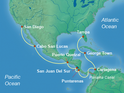 Panama Canal, Central America Cruise Itinerary Map