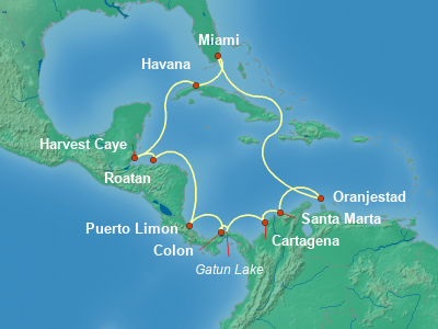 Central America Cruise Itinerary Map