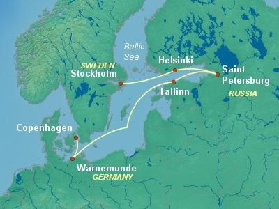 Baltic, Russia Cruise Itinerary Map