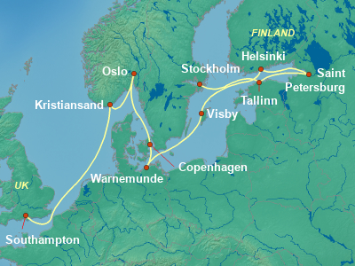 Baltic, Russia Cruise Itinerary Map
