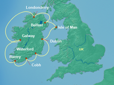 Europe , British Isles Cruise Itinerary Map