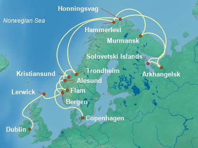 Scandinavia, Fjords Cruise Itinerary Map