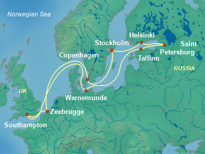 Northern Capitals Cruise Itinerary Map