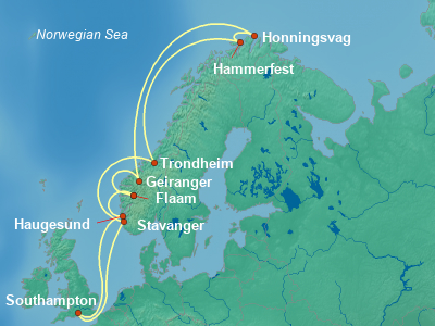Scandinavia, Fjords Cruise Itinerary Map