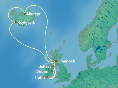 Europe , British Isles Cruise Itinerary Map