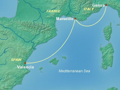 Party Cruise Itinerary Map