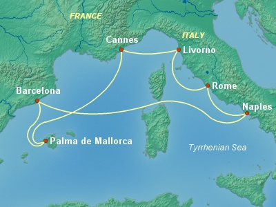 מסלול שייט בים התיכון