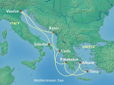 מסלול שייט מונציה לים האדריאטי