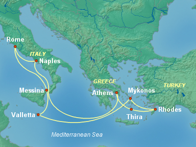 Mediterranean Cruise Itinerary Map