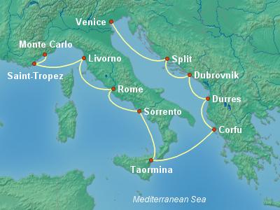 Mediterranean Cruise Itinerary Map