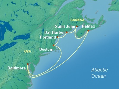 United States, Canada Eastern Cruise Itinerary Map