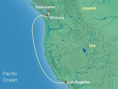 United States, Canada Cruise Itinerary Map