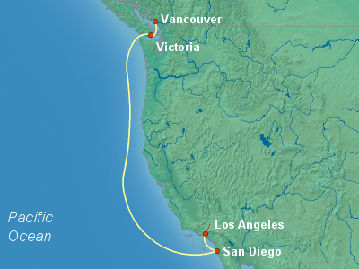 United States, Canada Cruise Itinerary Map