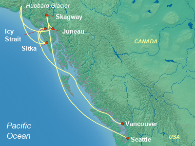 Alaska Cruise Itinerary Map