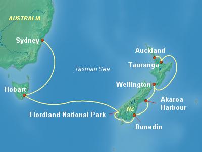 Australia, New Zealand Cruise Itinerary Map
