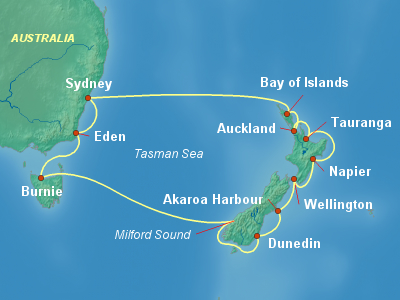 Australia, New Zealand Cruise Itinerary Map