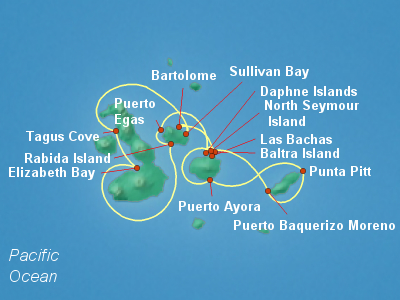 Galapagos Cruise Itinerary Map