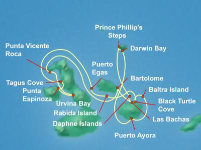 Galapagos Cruise Itinerary Map