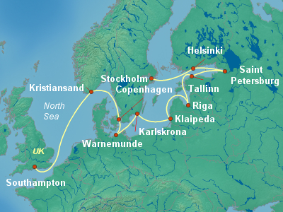 World Cruise Itinerary Map